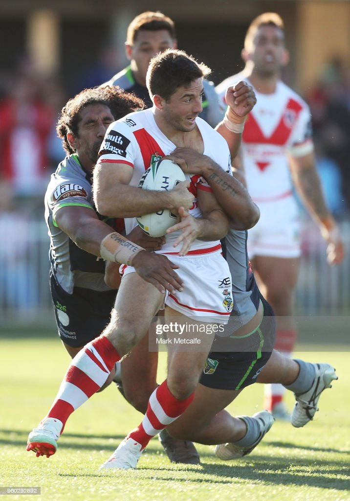 Ben Hunt of the Dragons is tackled during the round 11 NRL match between the St George Illawarra Dragons and the Canberra Raiders at Glen Willow Sporting Complex on May 20, 2018 in Mudgee, Australia.