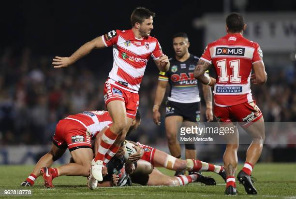Ben Hunt of the Dragons limps during the round 12 NRL match between the Penrith Panthers and the St George Illawarra Dragons at Panthers Stadium on...