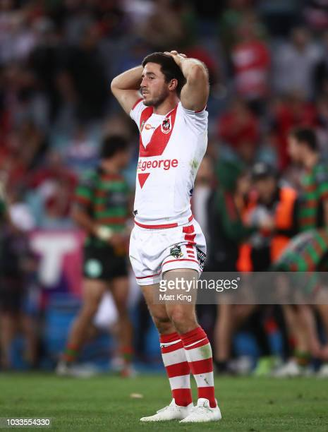 Ben Hunt of the Dragons looks dejected at fulltime during the NRL Semi Final match between the South Sydney Rabbitohs and the St George Illawarra...