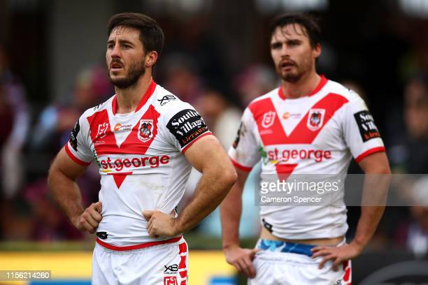 Ben Hunt of the Dragons looks dejected during the round 14 NRL match between the Manly Sea Eagles and the St George Illawarra Dragons at Lottoland on...