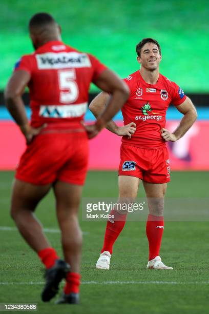 Ben Hunt of the Dragons looks dejected during the round three NRL match between the New Zealand Warriors and the St George Illawarra Dragons at...