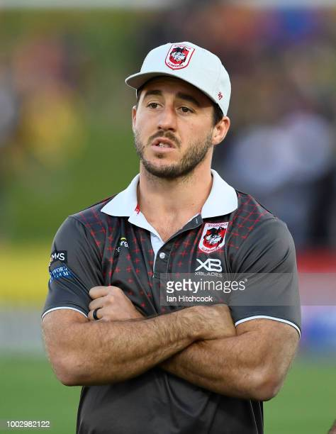 Ben Hunt of the Dragons looks on before the start of the round 19 NRL match between the North Queensland Cowboys and the St George Illawarra Dragons...