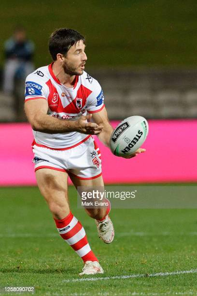 Ben Hunt of the Dragons passes the ball during the round 11 NRL match between the Cronulla Sharks and the St George Illawarra Dragons at Netstrata...
