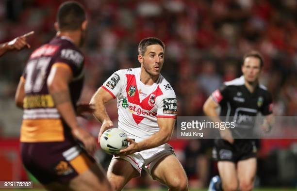 Ben Hunt of the Dragons runs with the ball during the round one NRL match between the St George Illawarra Dragons and the Brisbane Broncos at UOW...