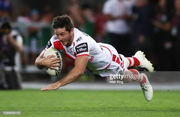 Ben Hunt of the Dragons scores a try during the NRL Semi Final match between the South Sydney Rabbitohs and the St George Illawarra Dragons at ANZ...