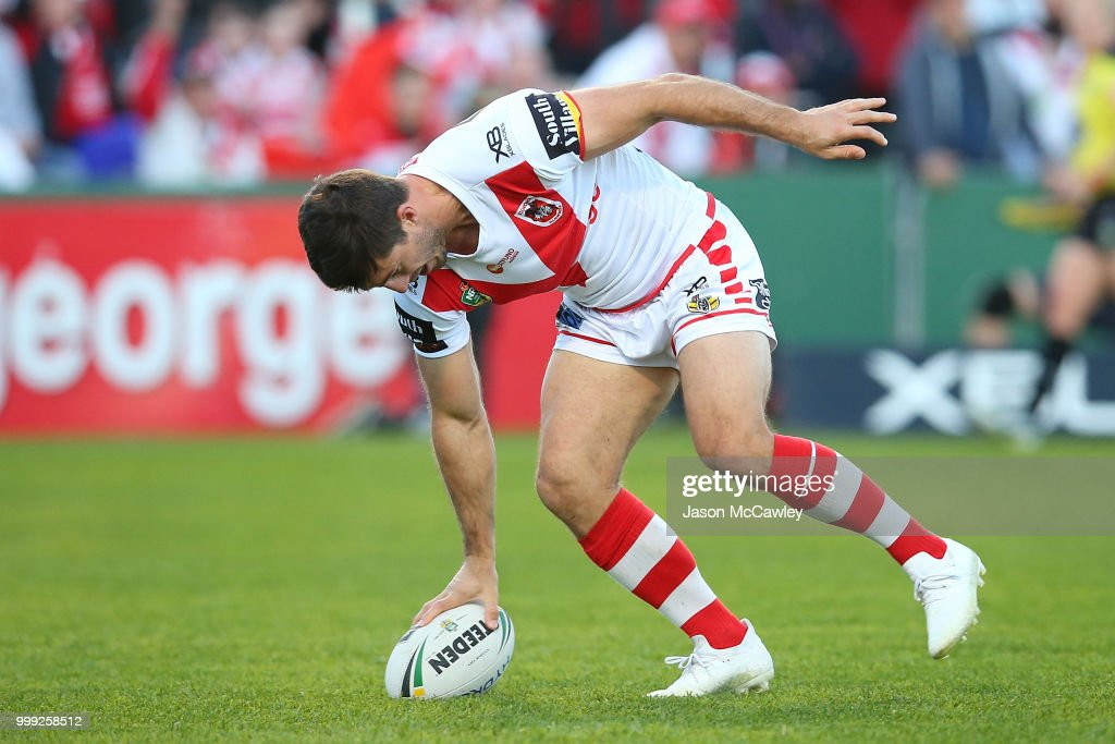 Ben Hunt of the Dragons scores a try during the round 18 NRL match between the St George Illawarra Dragons and the Wests Tigers at UOW Jubilee Oval on July 15, 2018 in Sydney, Australia.