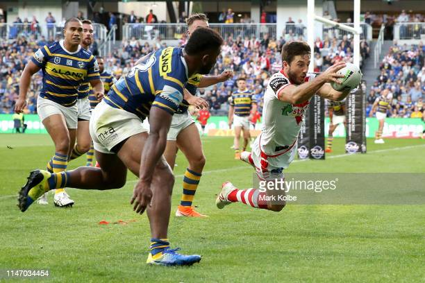 Ben Hunt of the Dragons scores a try during the round eight NRL match between the Parramatta Eels and the St George Illawarra Dragons at Bankwest...