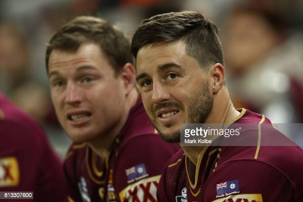 Ben Hunt of the Maroons looks on during game three of the State Of Origin series between the Queensland Maroons and the New South Wales Blues at...