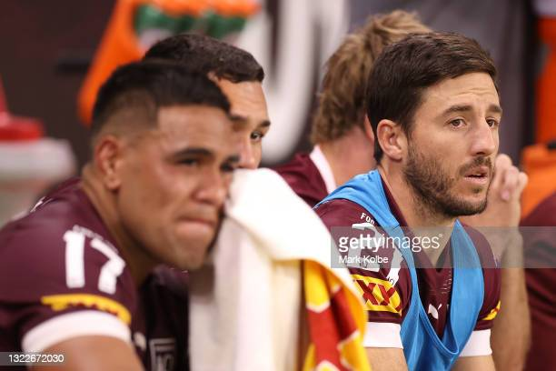 Ben Hunt of the Maroons looks on from the bench during game one of the 2021 State of Origin series between the New South Wales Blues and the...