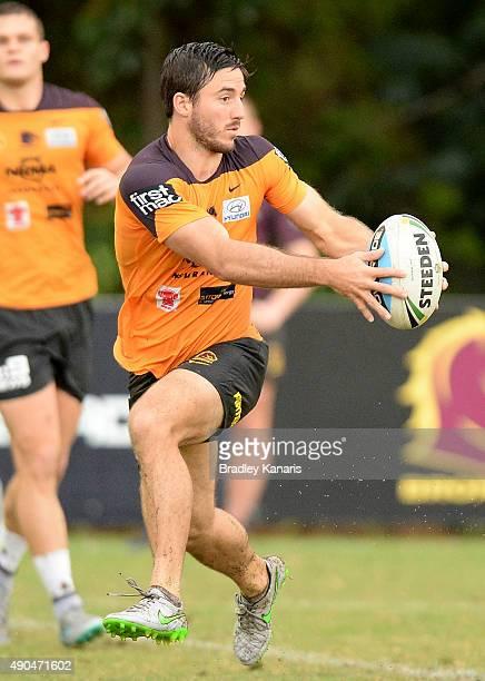 Ben Hunt runs with the ball during the Brisbane Broncos NRL training session on September 29 2015 in Brisbane Australia
