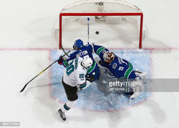 Ben Hutton and Jacob Markstrom of the Vancouver Canucks look on as Marcus Sorensen of the San Jose Sharks scores during their NHL game at Rogers...