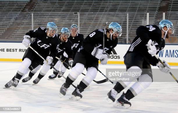 Ben Hutton, Joakim Ryan, Matt Roy, Drew Doughty and Derek Forbort of the Los Angeles Kings skate during practice prior to the 2020 NHL Stadium Series...