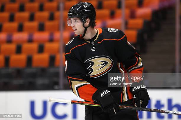 Ben Hutton of the Anaheim Ducks looks on during the second period of a game against the Vegas Golden Knights at Honda Center on February 27, 2021 in...
