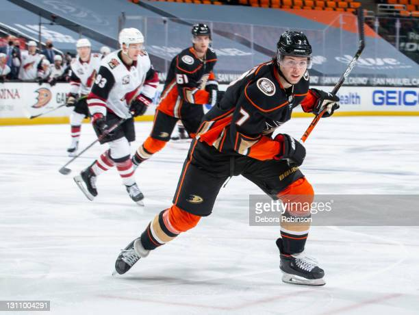 Ben Hutton of the Anaheim Ducks skates against the Arizona Coyotes during the second period of the game at Honda Center on April 2, 2021 in Anaheim,...