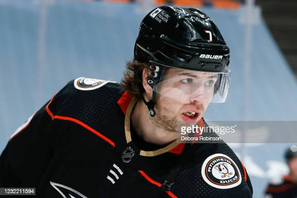 Ben Hutton of the Anaheim Ducks warms up before the game against the Colorado Avalanche at Honda Center on April 09, 2021 in Anaheim, California.