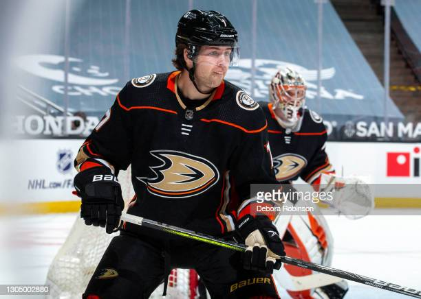 Ben Hutton of the Anaheim Ducks watches play during the first period of the game against the St. Louis Blues at Honda Center on March 1, 2021 in...
