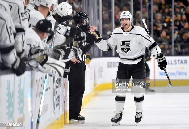 Ben Hutton of the Los Angeles Kings celebrates after scoring a goal during the first period against the Vegas Golden Knights at T-Mobile Arena on...