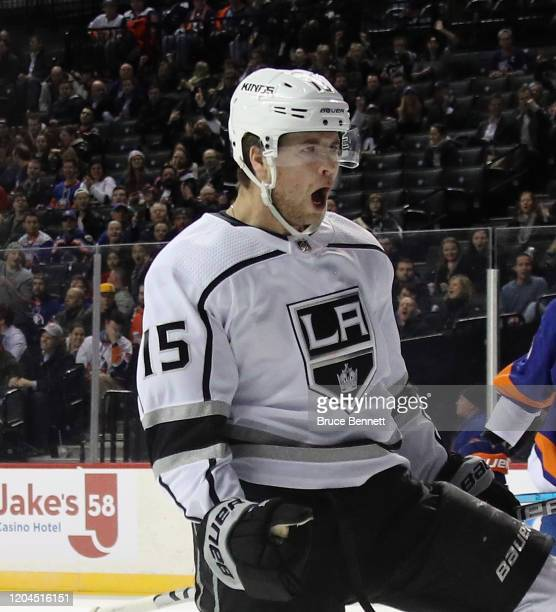 Ben Hutton of the Los Angeles Kings celebrates his first period goal against the New York Islanders at the Barclays Center on February 06, 2020 in...