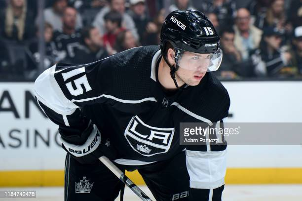 Ben Hutton of the Los Angeles Kings gets ready for the play during the second period of his 300th NFL game against the San Jose Sharks at STAPLES...