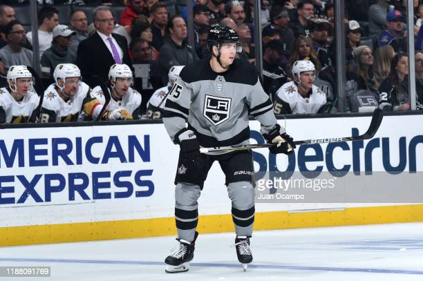 Ben Hutton of the Los Angeles Kings gets ready for the play during the second period against the Vegas Golden Knights at STAPLES Center on November...