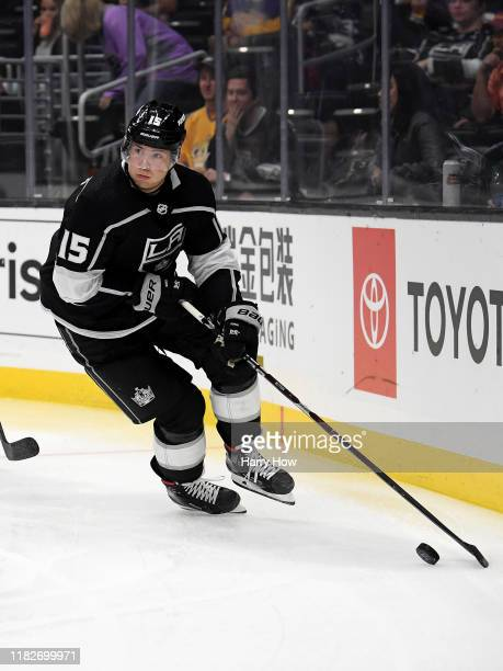Ben Hutton of the Los Angeles Kings looks up as he gathers the puck during a 3-0 loss to the Buffalo Sabres at Staples Center on October 17, 2019 in...