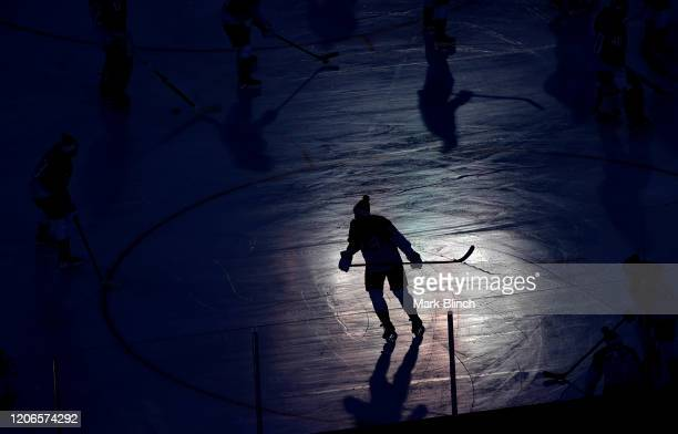 Ben Hutton of the Los Angeles Kings skates during warm-up prior to the 2020 NHL Stadium Series game between the Los Angeles Kings and the Colorado...