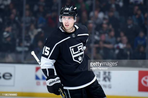 Ben Hutton of the Los Angeles Kings skates while waiting for play to resume during the third period of the game against the St. Louis Blues at...