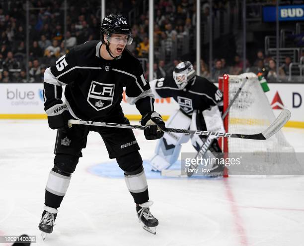 Ben Hutton of the Los Angeles Kings yells out during a 2-1 win over the Pittsburgh Penguins at Staples Center on February 26, 2020 in Los Angeles,...