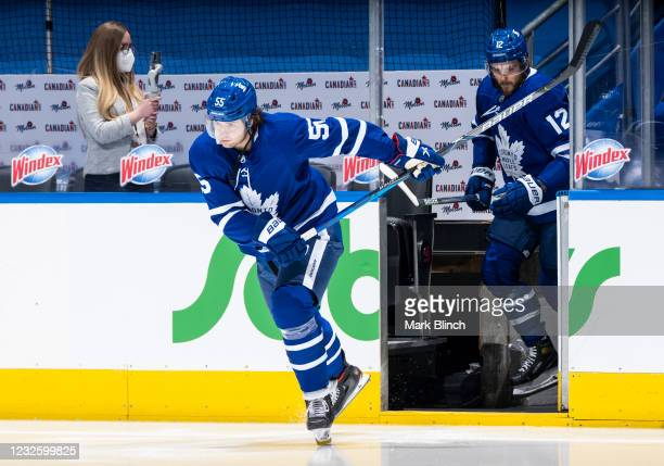 Ben Hutton of the Toronto Maple Leafs steps onto the ice for warm-up before facing the Vancouver Canucks at the Scotiabank Arena on April 29, 2021 in...
