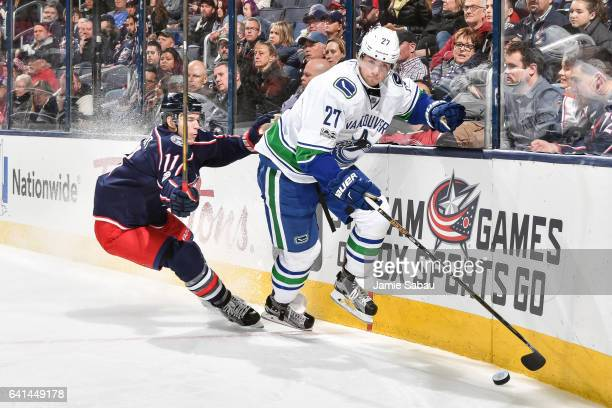 Ben Hutton of the Vancouver Canucks skates against the Columbus Blue Jackets on February 9 2017 at Nationwide Arena in Columbus Ohio Vancouver...