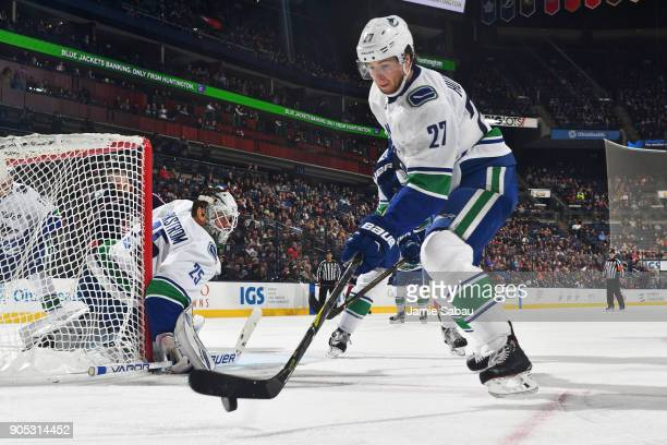 Ben Hutton of the Vancouver Canucks skates against the Columbus Blue Jackets on January 12 2018 at Nationwide Arena in Columbus Ohio