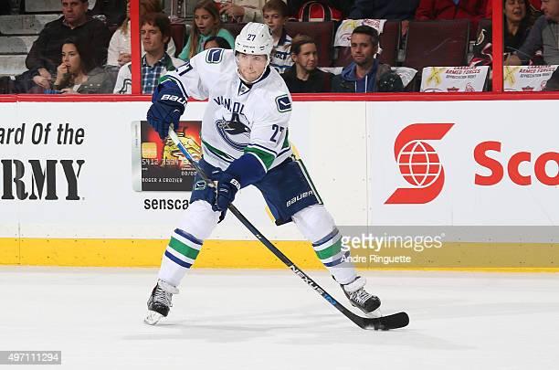 Ben Hutton of the Vancouver Canucks skates against the Ottawa Senators at Canadian Tire Centre on November 12 2015 in Ottawa Ontario Canada
