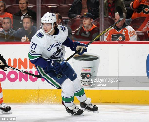 Ben Hutton of the Vancouver Canucks skates against the Philadelphia Flyers on November 21 2017 at the Wells Fargo Center in Philadelphia Pennsylvania