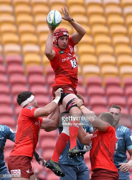 Ben Hyne of the Sunwolves competes at the lineout during the round seven Super Rugby match between the Sunwolves and the Crusaders at Suncorp Stadium...