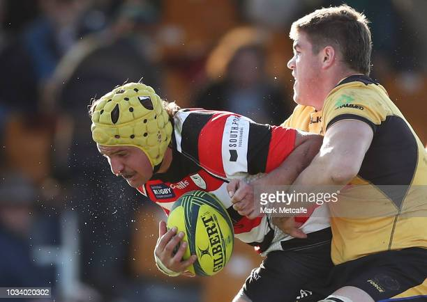 Ben Hyne of the Vikings is tackled during the round three NRC match between Canberra Vikings and Western Force at Viking Park on September 16 2018 in...