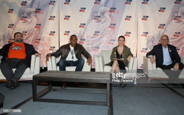 Ben Jackson Jason Winston George Alyssa Milano and Fred Guttenberg attend Politicon 2018 at Los Angeles Convention Center on October 21 2018 in Los...