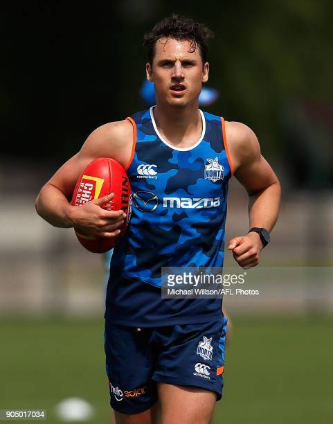 Ben Jacobs of the Kangaroos in action during a North Melbourne Kangaroos Training Session at Arden Street Ground on January 15 2018 in Melbourne...