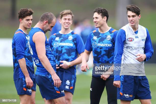 Ben Jacobs of the Kangaroos reacts during a North Melbourne Kangaroos AFL training session at Arden Street Ground on June 28, 2018 in Melbourne,...