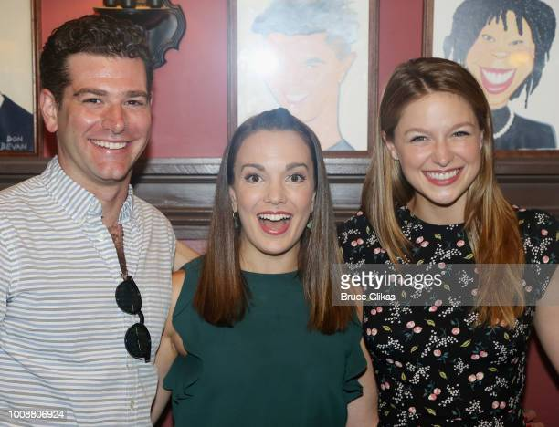Ben Jacoby Kara Lindsay and Melissa Benoist pose as Benoist receives her caricature on the wall honoring her performance in 'BeautifulThe Carole King...