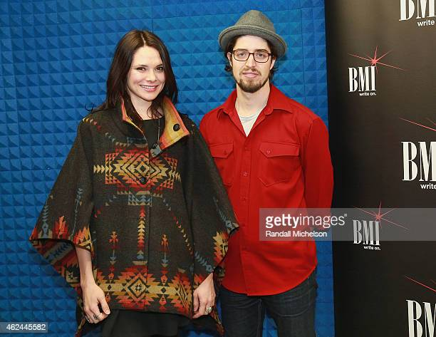 Ben Jaffe and Suzanne Santo of HoneyHoney attend the BMI Snowball at Sundance House on January 28 2015 in Park City Utah