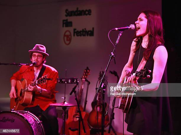 Ben Jaffe and Suzanne Santo of HoneyHoney perform at the BMI Snowball at Sundance House on January 28 2015 in Park City Utah