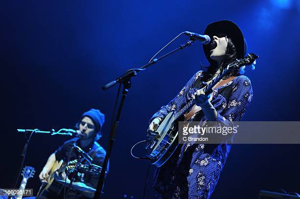 Ben Jaffe and Suzanne Santo of Honeyhoney performs on stage during one of the live shows to celebrate Virgin Records 40th Anniversary at Brixton...