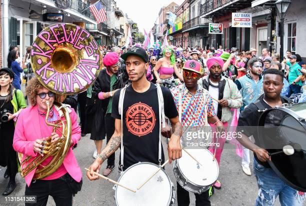 Ben Jaffe of Preservation Hall Jazz Band and Jenard Andrews of New Breed Brass Band participate in the second annual Krewe du Kanaval parade on...