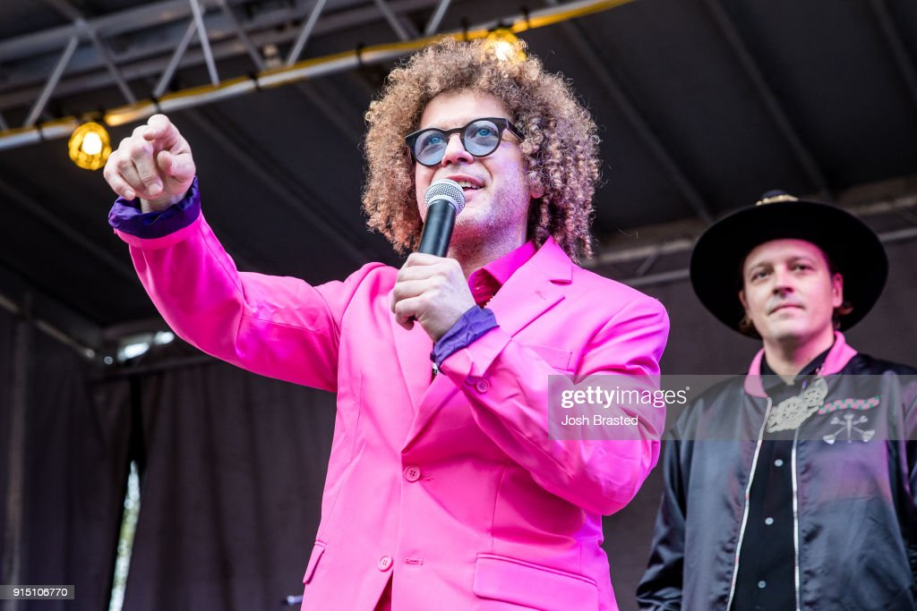 Ben Jaffe (L) of Preservation Hall Jazz Band speaks at Krewe Du Kanaval in Congo Square on February 6, 2018 in New Orleans, Louisiana.