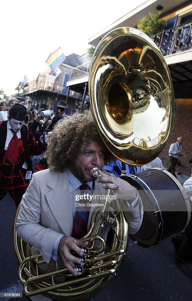 Ben Jaffe perfoms with the Preservation Hall Jazz Band during the grand re-opening of Preservation Hall on April 27, 2006 in New Orleans, Louisiana. Preservation Hall has been closed since Hurricane Katrina hit the area eight months ago.