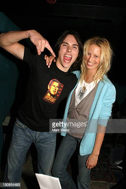 Ben Jelen and Karolina Kurkova during Ben Jelen Performs at 'Rock the Vote' NYC March 30 2004 at Knitting Factory in New York City New York United...