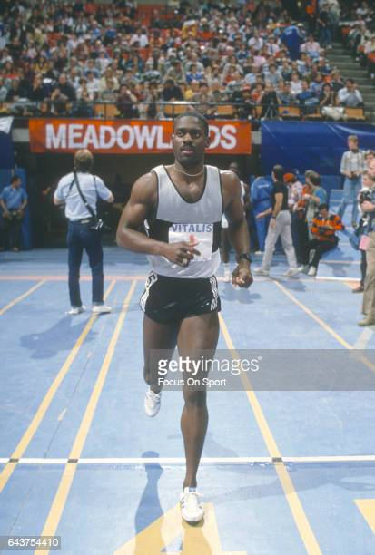 Ben Johnson of Canada competes in the Vitalis US Invitational circa 1986 at the The Meadowlands in East Rutherford New Jersey