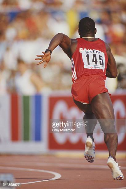 Ben Johnson of Canada during the Men's 4 x 100 metres relay event at the 2nd IAAF World Athletics Championships on 6th September 1987 at the Stadio...