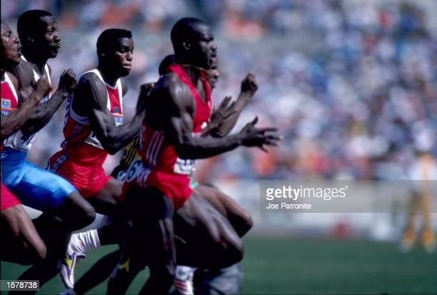 Ben Johnson of Canada pushes ahead of the field to win the men's 100m final in the 1988 Summer Olympic Games held in Seoul South Korea Johnson was...