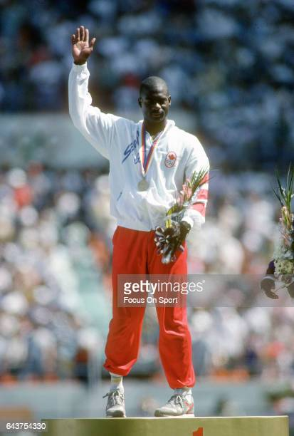 Ben Johnson of Canada waves to the fans after a metal ceremony at the Games of the XXIV Olympiad in the 1988 Summer Olympics circa 1988 in Seoul...